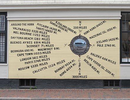 Distance Chart, Whale, Nantucket, Island, Cape