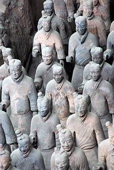 China, Xian, Soldier, Army, Terracotta, Antique