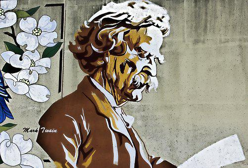 Mark Twain, Painting, Book, Classics, Reading