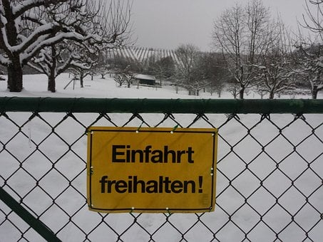 Snow, Fence, Germany, Close, Gate, Sign, No Parking