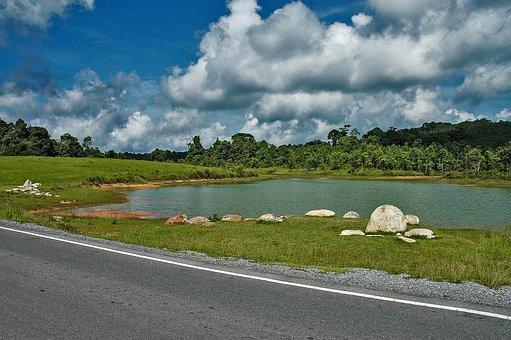 Landscape, Lake, Clouds, Khao Yai, Thailand