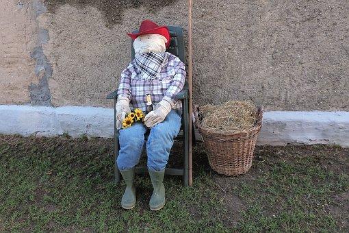 Woman Of Straw, Sitting, Basket, Hay, Decoration