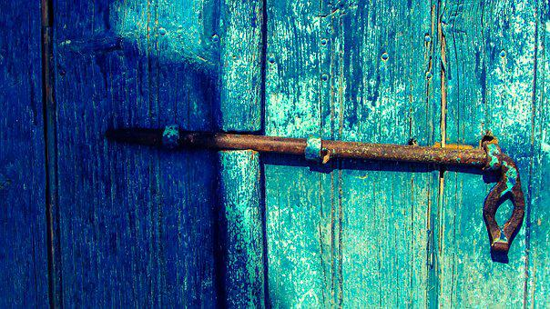 Latch, Rusty, Old, Door, Wooden, Aged, Weathered, Blue