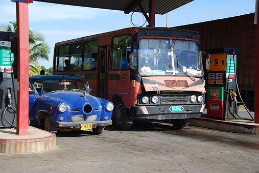 Gas Station, Bus, Diesel Fuel, Gasoline, Fuel, Gas Pump