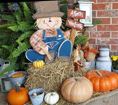 Scarecrow, Fall, Autumn, Pumpkin, Hay, Harvest, Orange