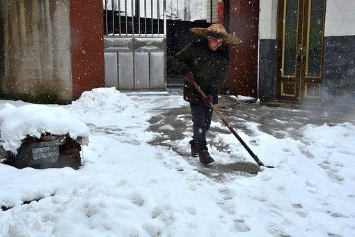 Winter, In Rural Areas, Quiet, Snow, People, Entrance