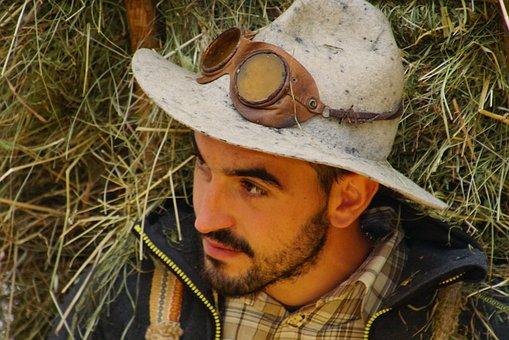 Man, Glasses, Hay, Hat, Beard, Person, Portrait, Italy