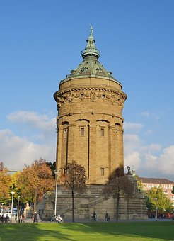 Water Tower, Art Nouveau, Mannheim, Landmark, 19