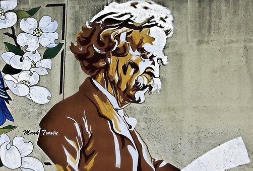 Mark Twain, Painting, Book, Classics, Reading