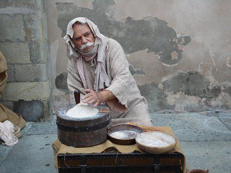 Reenactment, Middle Ages, Parma, Man, Actor, Old, Flour