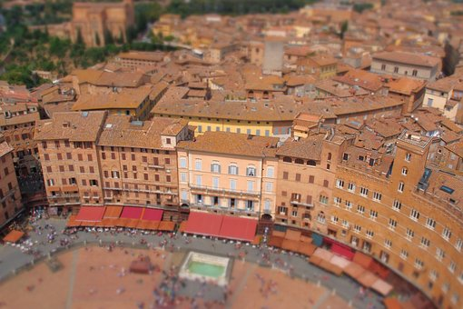 Sienna, Italy, Piazza Del Campo, Tilt, Red Roof, Area