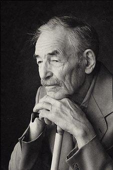 Grandpa, Cane, Old, Aged, Man, Lalely, Portrait, Sad