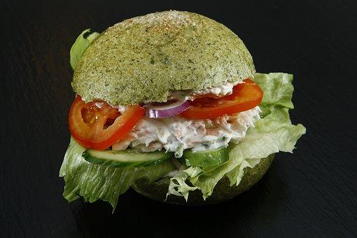 Spinach Dumpling, Sandwich Bun, Salad, Tomato