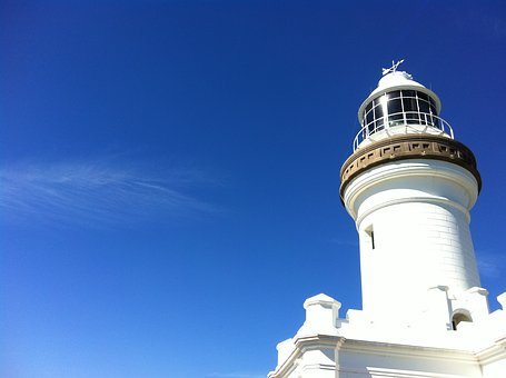 Lighthouse, Sky, Blue, White, Cloud, Sea, Seaside