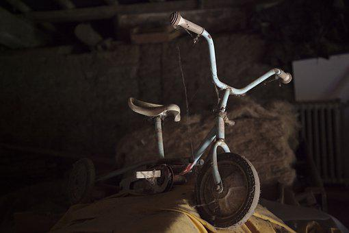 Tricycle, Old, Spider Webs, Attic, Side
