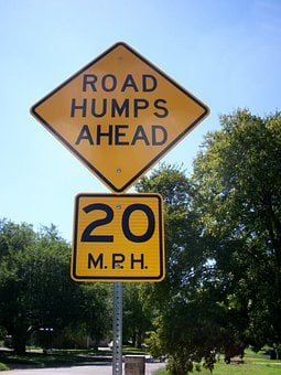 Road Humps Ahead, Road Sign, Traffic Sign, Street, Sign