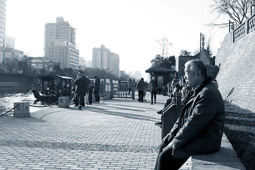 The Old Man, Xi'an, Moat, Street, Day, People