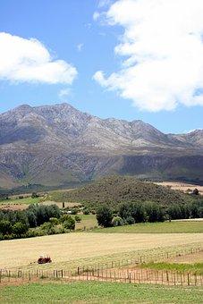 Valley, Tractor, Pastoral, Karoo, Cape, Farm, Rural