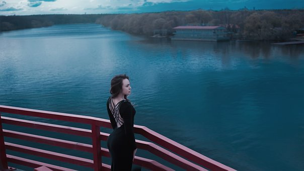 Black Dress With A Slit, On The Back, Water, River