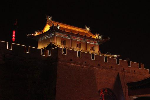 Xi'an, Night View, Old Town House, Temple, China, Asia