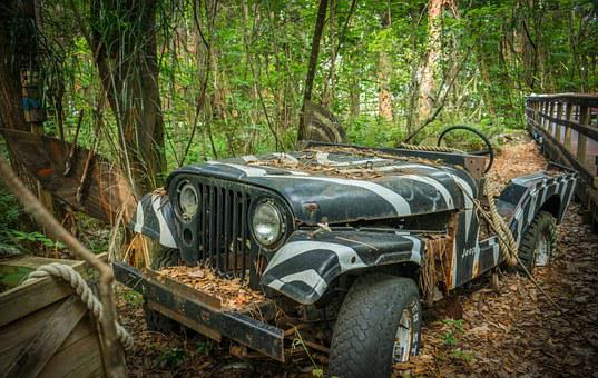 Jeep, Old, Adventure, Tropical, Off-road, Vintage