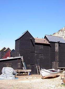 Fisherman's Sheds, Boat, House, Architecture, Building