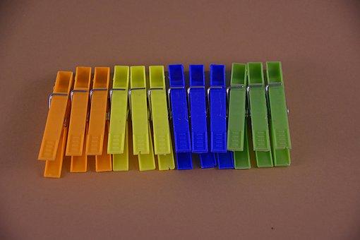 Tongs, Linen, Clothespin, Clothespins, Plastic, Colors