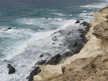 Surf, Coast, Wave, Beach, Sea, Fuerteventura, Rock