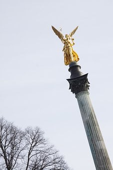 Statue, Angel, Gold, Gilded, Leaf Gilded Bronze, Wing