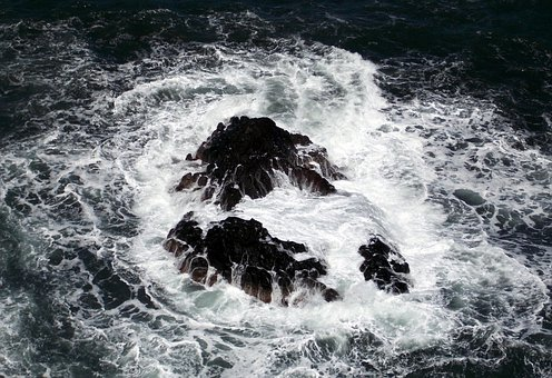 Sea, Wave, Spray, Rock Of Ages, Rock, Lapped, Water