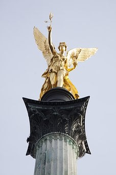 Statue, Angel, Gold, Gilded, Leaf Gilded Bronze, Wing