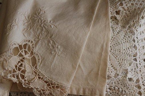 Lace, Linen, Vintage, Design, Embroidery, Fabric, Beige