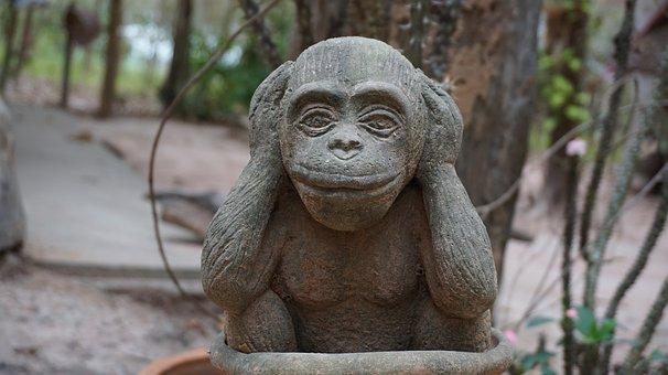 Monkey, Statue, Closed-ear Headphones, Still, Peace