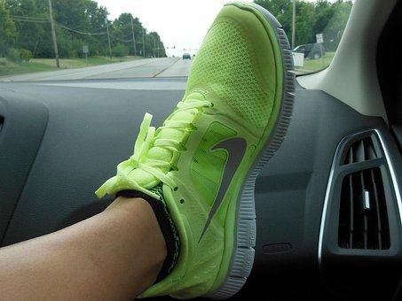 Shoe, Nike, Foot, Green, Swoosh