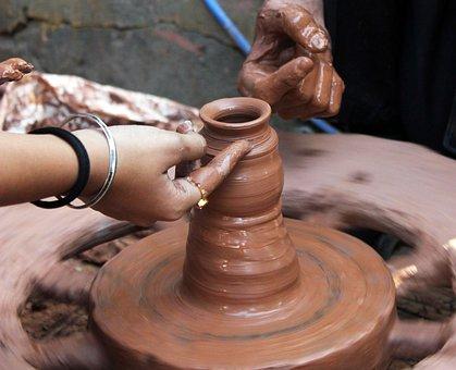 Pottery, Potter, Clay, Craft, Pot, Handmade, Rotation