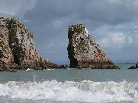 Rock, Surf, Ocean, Water, Rock Of Ages, Lapped