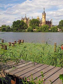 Schwerin Castle, Lap, Schwerin, Lake, Summer, Jetty