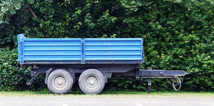Trailers, Tractor, Blue, Turned Off, Agriculture