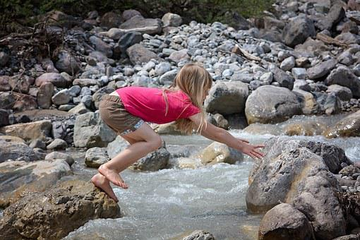 Human, Person, Child, Girl, Barefoot, Blond, Water