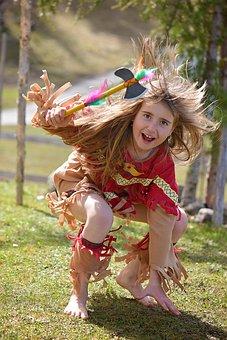 Human, Child, Girl, Blond, Long Hair, Indians