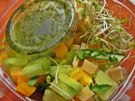 Eating, Salad, Paprika, Cucumber, Sprout Vegetables