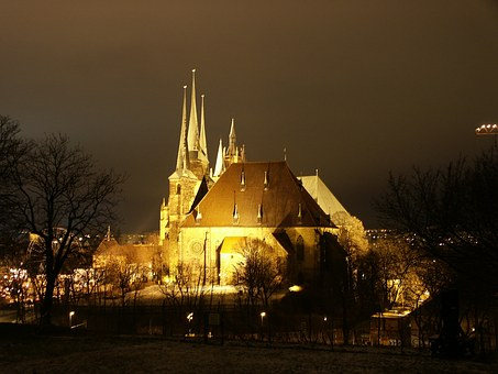 Erfurt, Dom, Architecture, Church, Illuminated