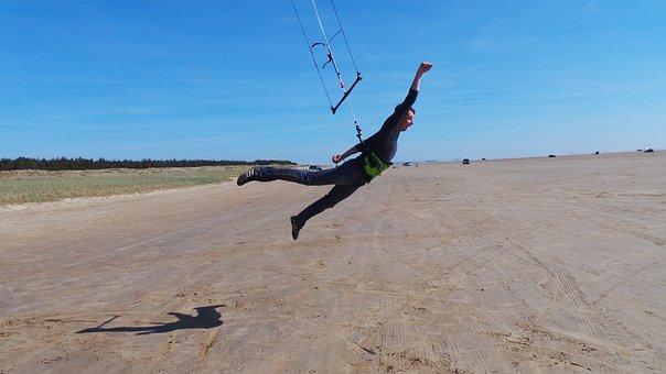 Kiting, Flying, Take Off, Fun, Jump, Gravitation