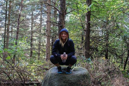 Girl, Rock, Hiking, Hiker, Climb, Adventure, Forest