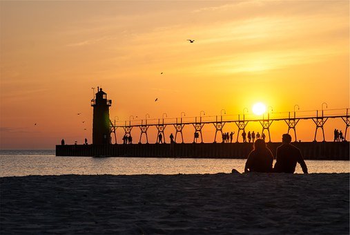 Sunset, Sky, Pier, Lighthouse, Silhouette, Dusk, People
