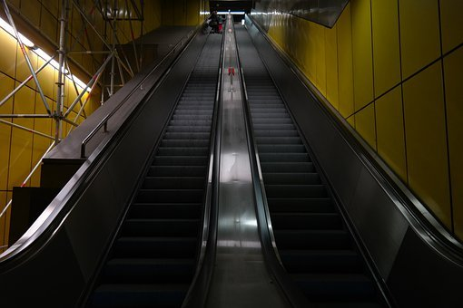 Escalator, Long, Stairs, Metro, Roller Platform