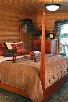 Bedroom, Master, Interior, Room, Furniture, Log Home