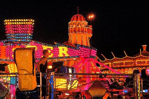 Fair, Fun, Funfair, Carousel, Lights, Bright, Night