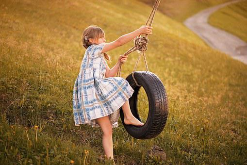 Person, Human, Child, Girl, Play, Rock, Tire Swing, Out