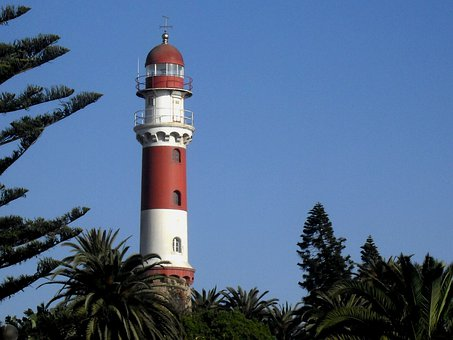 Lighthouse, Red, White, Tall, Tapered, Green Trees